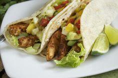 Blackened Swordfish Tacos W/ Mango Avocado Salsa With Swordfish Fillets, Cayenne Pepper, Paprika, Cumin, Parsley, Oregano, Black Pepper, Salt, Corn Tortillas, Romaine Lettuce, Salsa