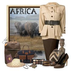 """""""Africa"""" by dgia ❤ liked on Polyvore featuring LE3NO, Yves Saint Laurent, Louis Vuitton, Longchamp, Smashbox, NOVICA, NEST Jewelry and Rupert Sanderson"""