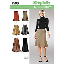 Buy Simplicity Women's Skirt Sewing Pattern,1560 Online at johnlewis.com