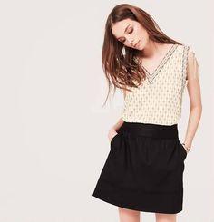 acec25191d67 NWT ANN TAYLOR LOFT Petite Stitched-Print Tie Shoulder V Neck Top Black   AnnTaylorLOFT