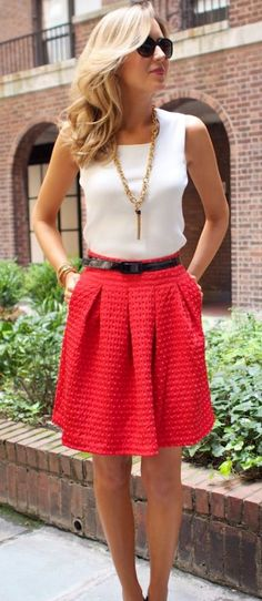 summer outfits White Tank + Red Skirt