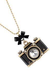 Betsey Johnson Large Camera Long Necklace