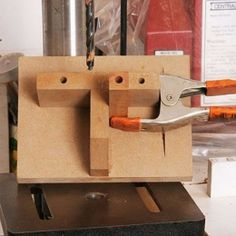 Pen Blank Drilling Jig - Homemade pen blank drilling jig constructed from MDF. Intended for utilization in conjunction with a drill press.