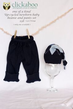 Up-cycled beanie and pant set, newborn baby prop set, baby boy up-cycled set. $38.00, via Etsy.