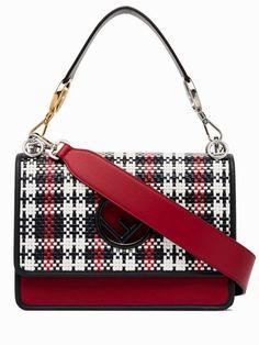d190c4ca57 Fendi Medium Kan I F Logo Red Woven Tartan Convertible Calfskin Leather  Shoulder Bag. Get one