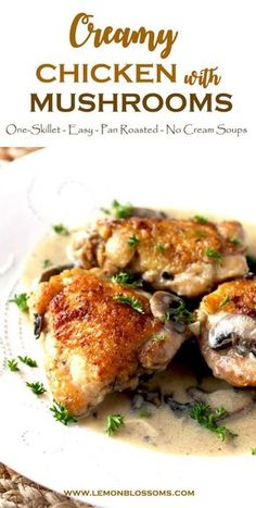 This Creamy Chicken and Mushrooms recipe is easy and delicious. Bone-in chicken thighs are pan roasted and smothered in the most delectable creamy mushroom sauce made from scratch. Cream Of Mushroom Chicken, Mushroom Cream Sauces, Chicken Mushroom Recipes, Creamy Mushroom Sauce, Chicken Thigh Recipes, Mushroom Soup, Healthy Chicken Recipes, Turkey Recipes, Lunch Recipes