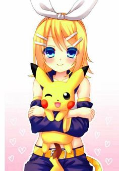 Rin Kagamine and Pikachu