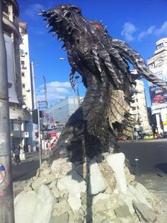 Smaug sculpture by Alldeco in Unirii square, Bucharest