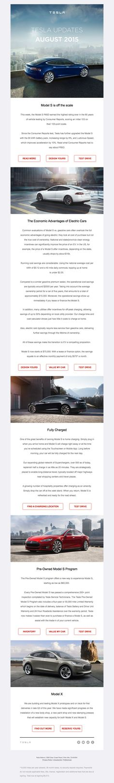 Tesla sent this email with the subject line: Tesla Updates: August 2015 - This is a nice email from Tesla with gorgeous photography to draw me into their vehicles. The typography on my phone is nice and large and easy to read and the action steps are clear. Read about this email and find more newsletter emails at ReallyGoodEmails.com #ecommerce #newsletter #productupdate