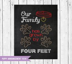 Puppy Announcement // Our family has grown by four feet // New Pet Announcement // Instant Dow Adoption Gifts, Adoption Day, Dyi, Miniature Horse Tack, Pet Health Insurance, Puppy Gifts, Chalkboard Designs, Puppy Party, Baby Puppies