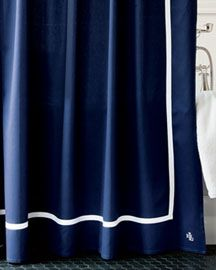 Ralph Lauren Navy Shower Curtain  I have this and dig it This modern shower curtain features a horizontal white navy blue