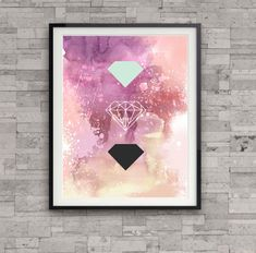 watercolor abstract diamond print, diamond illustration, abstract painting, home wall decor, modern art print, gem print, wall art  ………………………………….…………………………………. I am a Canadian based artist. This is an archival high quality print of my original illustration. It is printed on fine art,