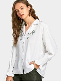 Smocked Floral Patched Button Up Shirt - WHITE M
