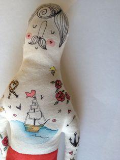Sailor- Nautical- Illustrated Man- Handmade Art Doll- Painted Plush Doll- Mustache- Tattoo- Vintage Circus via Etsy