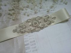 ivory flower girl  belt pearl beltiory flower girl sash
