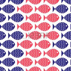 nautical background: Seamless nautical pattern with fish  Vector illustration