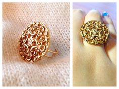 gold medallion ring #upcycled https://www.facebook.com/simplyshapedjewelry