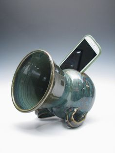 Ceramic Tabletop Phone Amplifier by JandKclayworks on Etsy