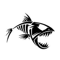 Skeleton Fish Die Cut Vinyl Decal PV1046