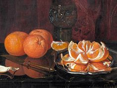 Sophus Peterson.  Still Life with Oranges and Roemer.  1881