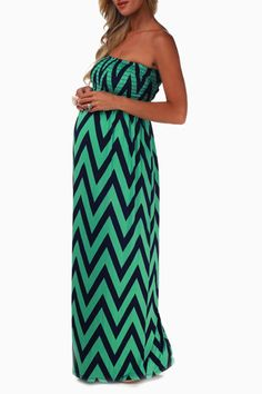 Mint Green Navy Chevron Strapless Maxi Maternity Dress (