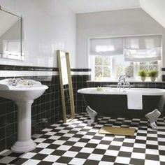 Victorian tiled bathroom- This monochromatic look is timeless!!