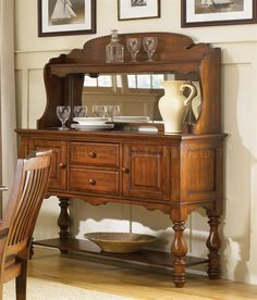 Americana Traditional Server & Mirored Hutch by Liberty Furniture - Knoxville Wholesale Furniture - Baker's Rack Knoxville, Tennessee Dining Room Server, Dining Room Sets, Liberty Furniture, Wholesale Furniture, Quality Furniture, Dining Room Furniture, Home Furnishings, Room Decor, Decorating Rooms