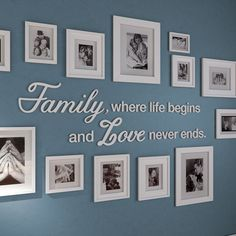Family Where Life Begins and Love Never Ends , Family Quote, gallery wall quote, Family where life begins – SKU:FALIF – Wall Decor 2020 Family Pictures On Wall, Family Photo Walls, Hanging Pictures On The Wall, Family Wall Decor, Family Wall Collage, Family Tree Wall, Collage Art, Wall Decor Quotes, Quote Wall