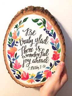 Inspirational Bible Verse Wood Slice 1 by HaleyMillerPaintings