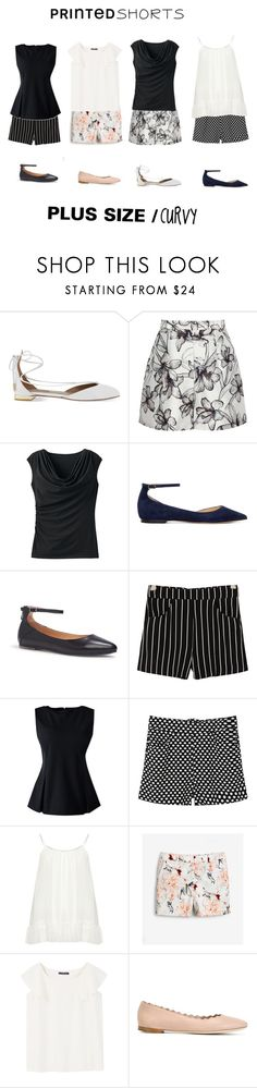 """Printed Shorts"" by jessicasanderstx ❤ liked on Polyvore featuring Aquazzura, Reiss, TravelSmith, Jimmy Choo, Me Too, MANGO, Lands' End, Zizzi, White House Black Market and Violeta by Mango"