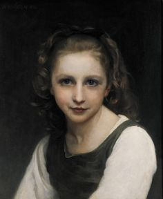 Learn more about Portrait of a young girl William-Adolphe Bouguereau - oil artwork, painted by one of the most celebrated masters in the history of art. William Adolphe Bouguereau, Famous Art Paintings, Oil Paintings, Beaux Arts Paris, Munier, Painting Of Girl, Little Princess, Traditional Art, Oeuvre D'art