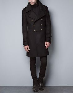BLACK MILITARY COAT - Coats - Man - ZARA