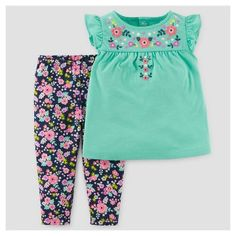 Baby Girls' Embroidered Floral Set - Just One You Made by Carter's Teal Newborn Gender: Female. Baby Girls' Embroidered Floral Set - Just One You Made by Carter's Teal (Blue) Newborn Cute Outfits For Kids, Toddler Outfits, Toddler Girl Style, Toddler Girls, Little Girl Swag, Stitching Dresses, Carters Baby Girl, Floral Leggings, Baby Shirts