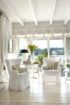 Interior Design, Contemporary Living Room White Interior Open Air Concept Natural Nuance: modern house design with white interior color Neutral Cottage Living, Coastal Cottage, Coastal Living, Coastal Decor, Coastal Style, Country Living, Cottage Porch, Nantucket Style, Coastal Bedrooms