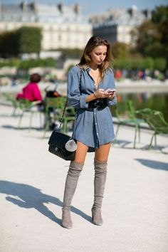 Pinterest @esib123 #fashion #style #inspo chambray dress and thigh high boots