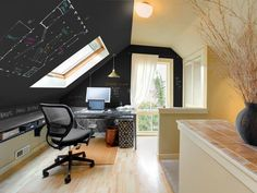 Black dry-erase paint on ceiling of home office - never knew you could dry-erase paint - pretty cool for an office