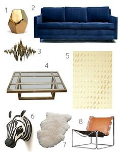 Get the Look: Updated Living Room Designs Inspired by American Hustle--love the blue, gold, caramel color pallette Cafe Interior, Best Interior, Interior Design, Living Room Designs, Living Spaces, Home Decor Inspiration, Home And Living, American Hustle, House Design