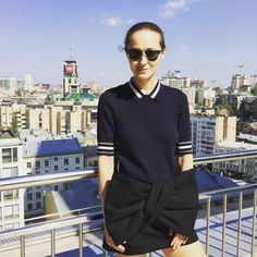 Spotted on Instagram, Daria Shapovalova wearing the Tory Burch Ribbed Cotton Polo
