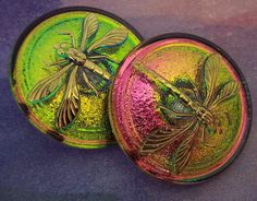 Iridescent Pink, Green and Gold Button with Golden Dragonfly