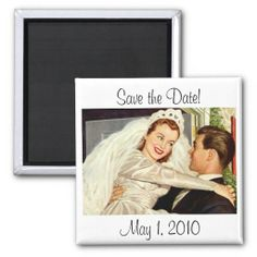 Vintage Wedding Bride Groom Newlywed Save the Date Fridge Magnet