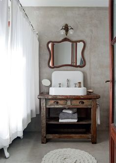Vintage Bathroom - Love the timber vanity. also note the rug, I can feel a circular or oval toothbrush rag rug project coming on. Rustic Bathrooms, Chic Bathrooms, Bathroom Renos, Small Bathroom, White Bathroom, Lavabo Vintage, Ideas Baños, Ideas Para, Beautiful Bathrooms