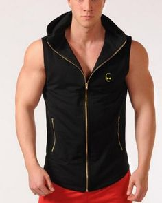252f9b757dbe4 Workout hooded tank top zip design gym tank tops for men