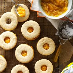 Apricot-Filled Cookies Recipe -The recipe for these rich, buttery cookies originally called for dates. Apricots have long been my favorite fruit, so using them as a substitute seemed natural. Pecan Pie Cookies, Buttery Cookies, Cut Out Cookies, Cookies Et Biscuits, Yummy Cookies, Apricot Filled Cookie Recipe, Apricot Filling Recipe, Apricot Recipes, Sweet Recipes