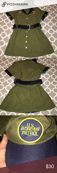 Halloween women's border patrol costume size 1X/2X Halloween women's border patrol costume size 1X/2X worn once in great condition. Comes with belt, hat, pins. Runs small. Button up. dreamgirl Other