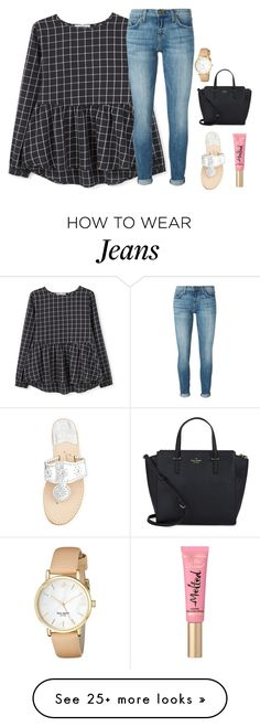 """everything looks good with jeans and jacks"" by ameliahinton on Polyvore featuring MANGO, Current/Elliott, Jack Rogers, Kate Spade, women's clothing, women, female, woman, misses and juniors"