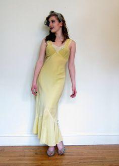 Vintage 1940s Nightgown Slip Dress in Yellow by by BasyaBerkman, $40.00