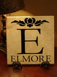 Personalized and Customized, Monogrammed Last Name Decorative Tile. $24.95, via Etsy.