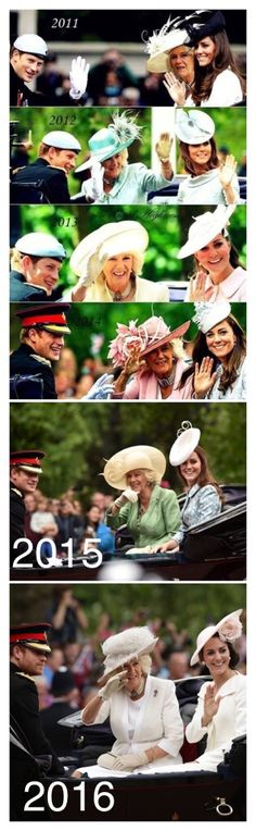 Harry, Camilla and Kate during the Trooping the Colour 2011-2016