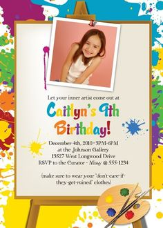 LITTLE ARTIST  Art Painting Birthday Party by Whirlibird on Etsy, $12.99