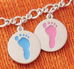 Summer Collection - Enamel Baby Boy Footprint Charm, Enamel Baby Girl Footprint Charm shown on Medium Twist Chain #JamesAvery